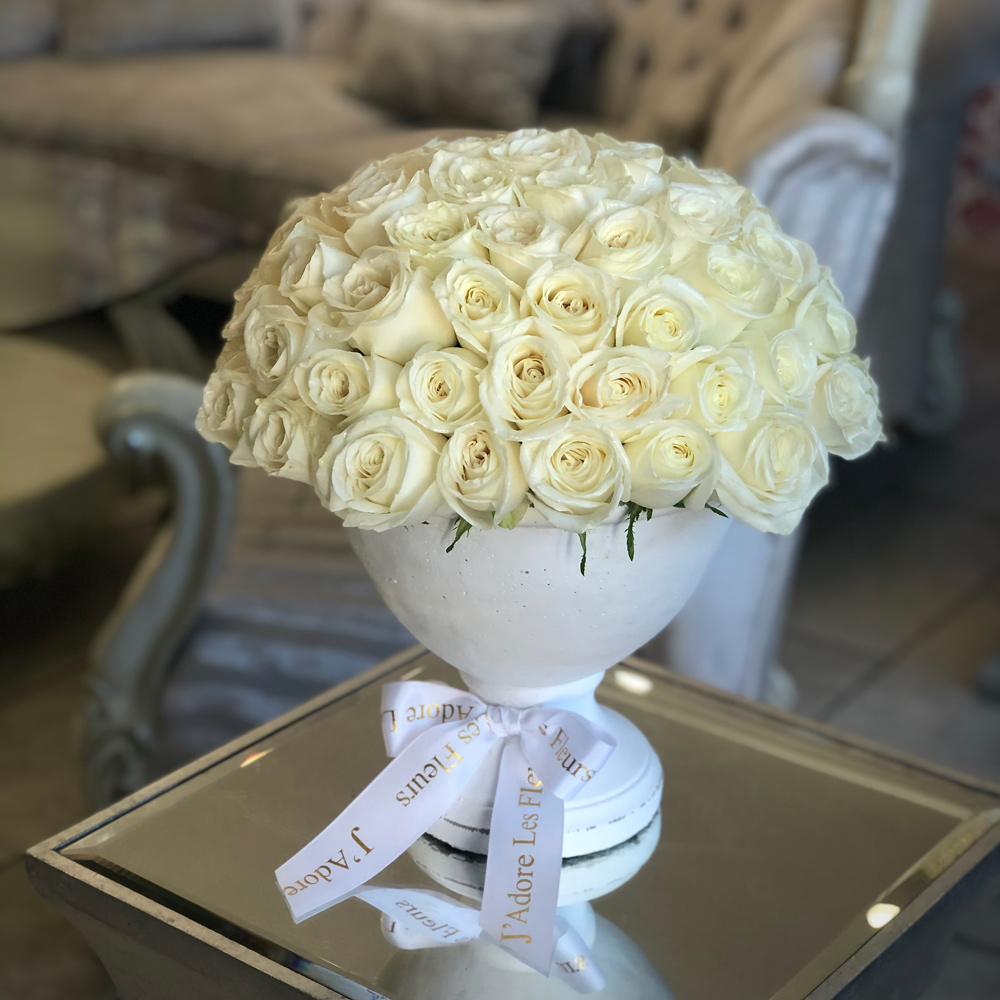 All White Roses in a Vase