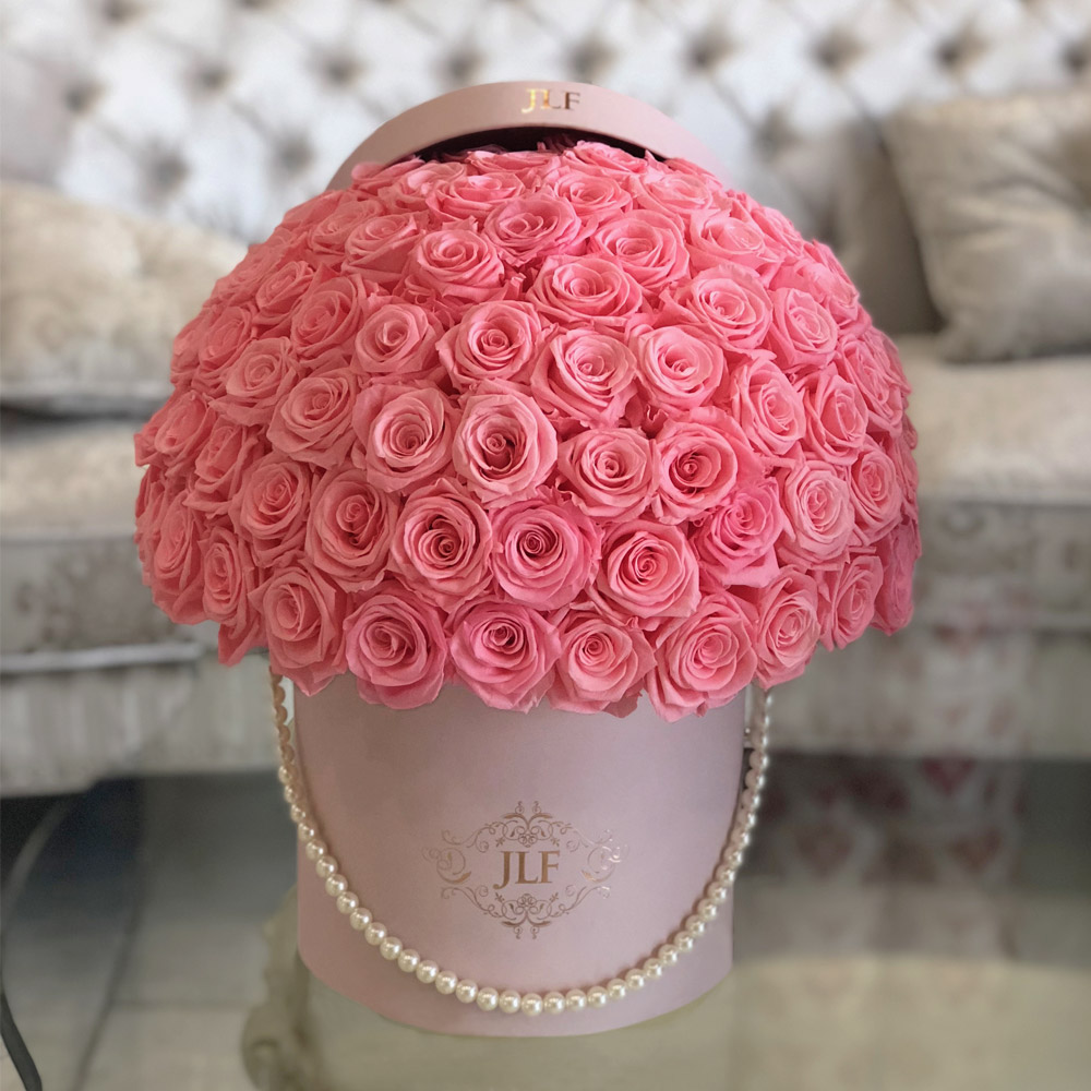 Everlasting (Preserved) Pink Roses In Dome Shape With Pearl Ribbon