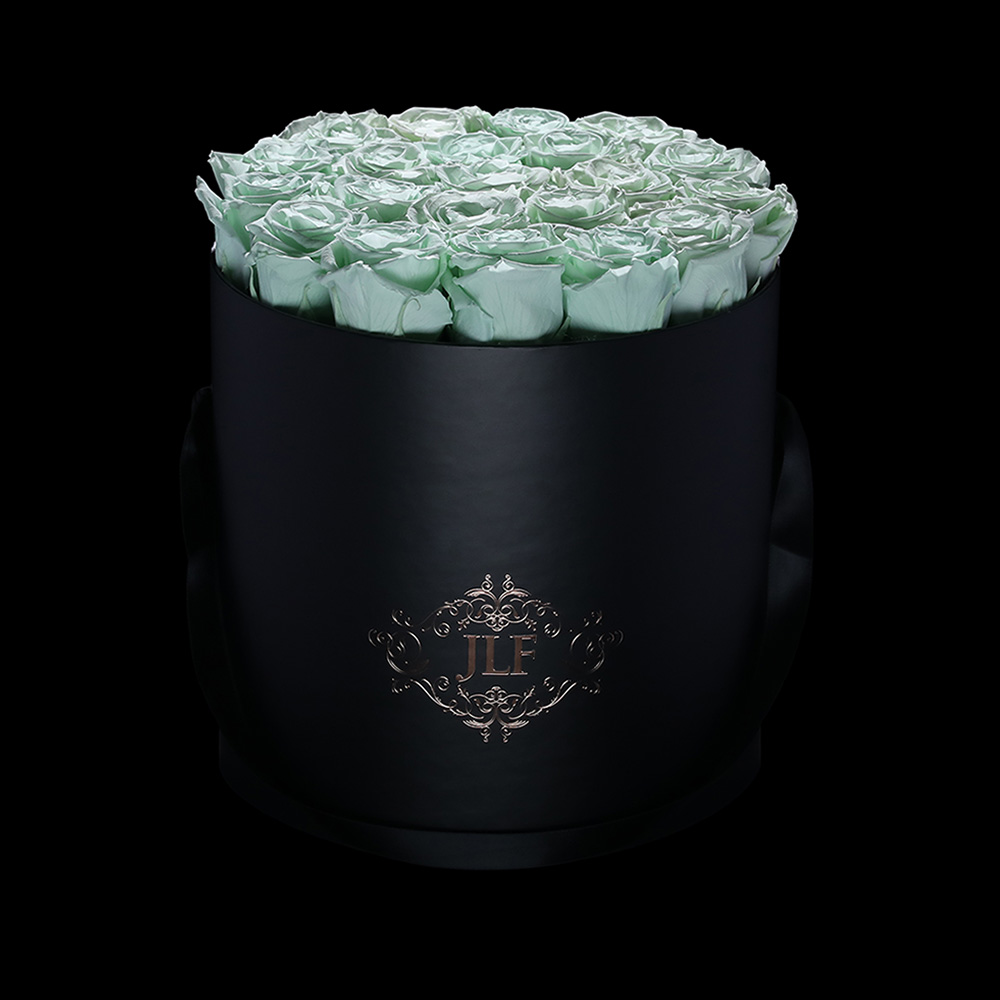 Everlasting Mint Roses In Black Box