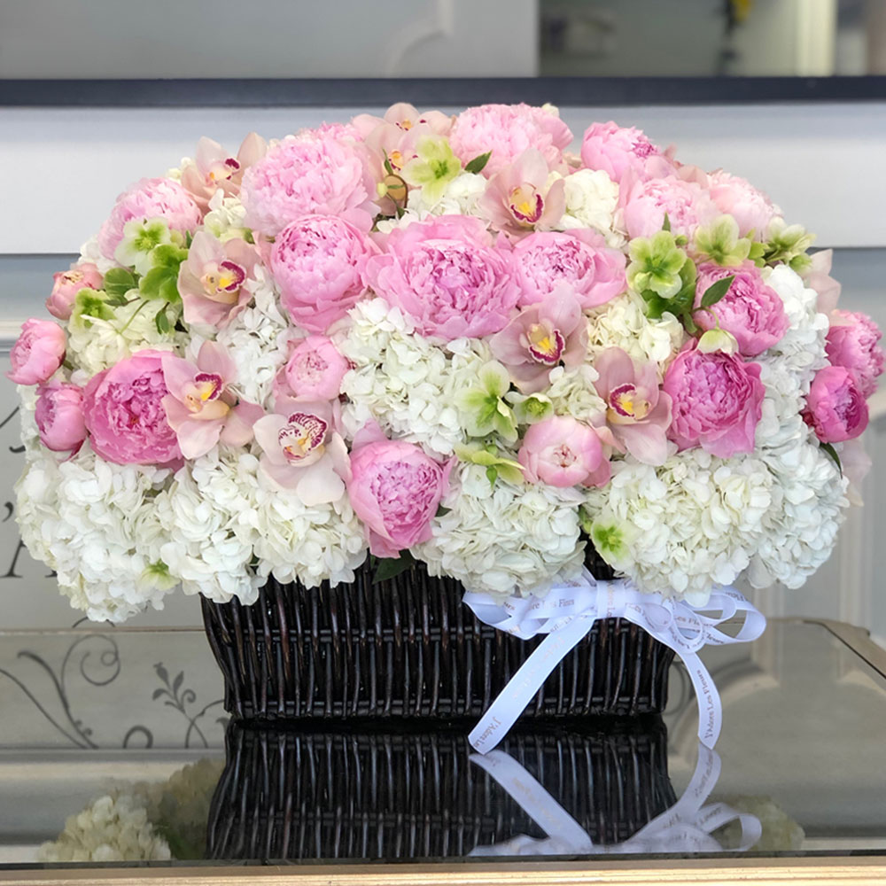 Basket of Peonies, Orchids and Hydrangeas