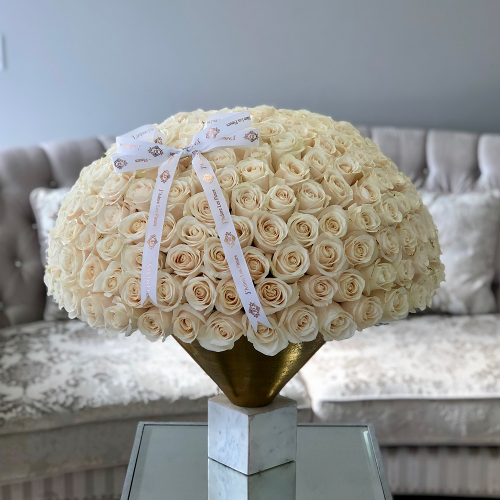 200 White Roses in JLF Vase