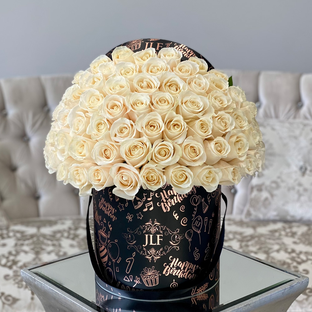 JLF Signature White Rose Birthday Box