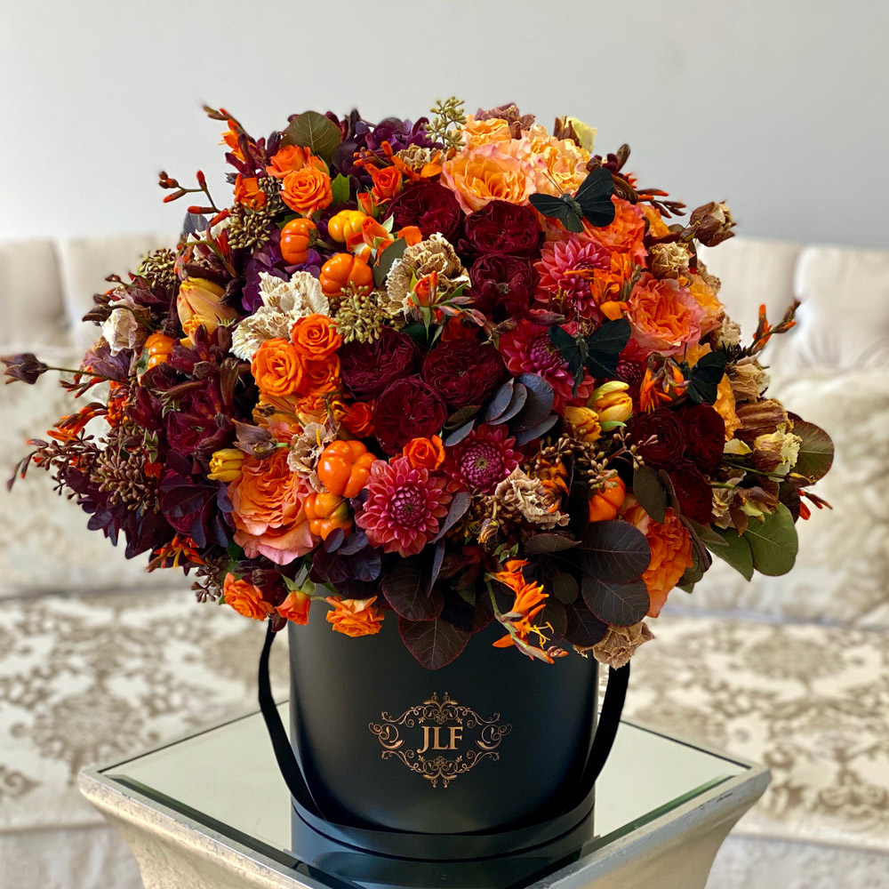 Autumn with Mini Pumpkins and Blossoms