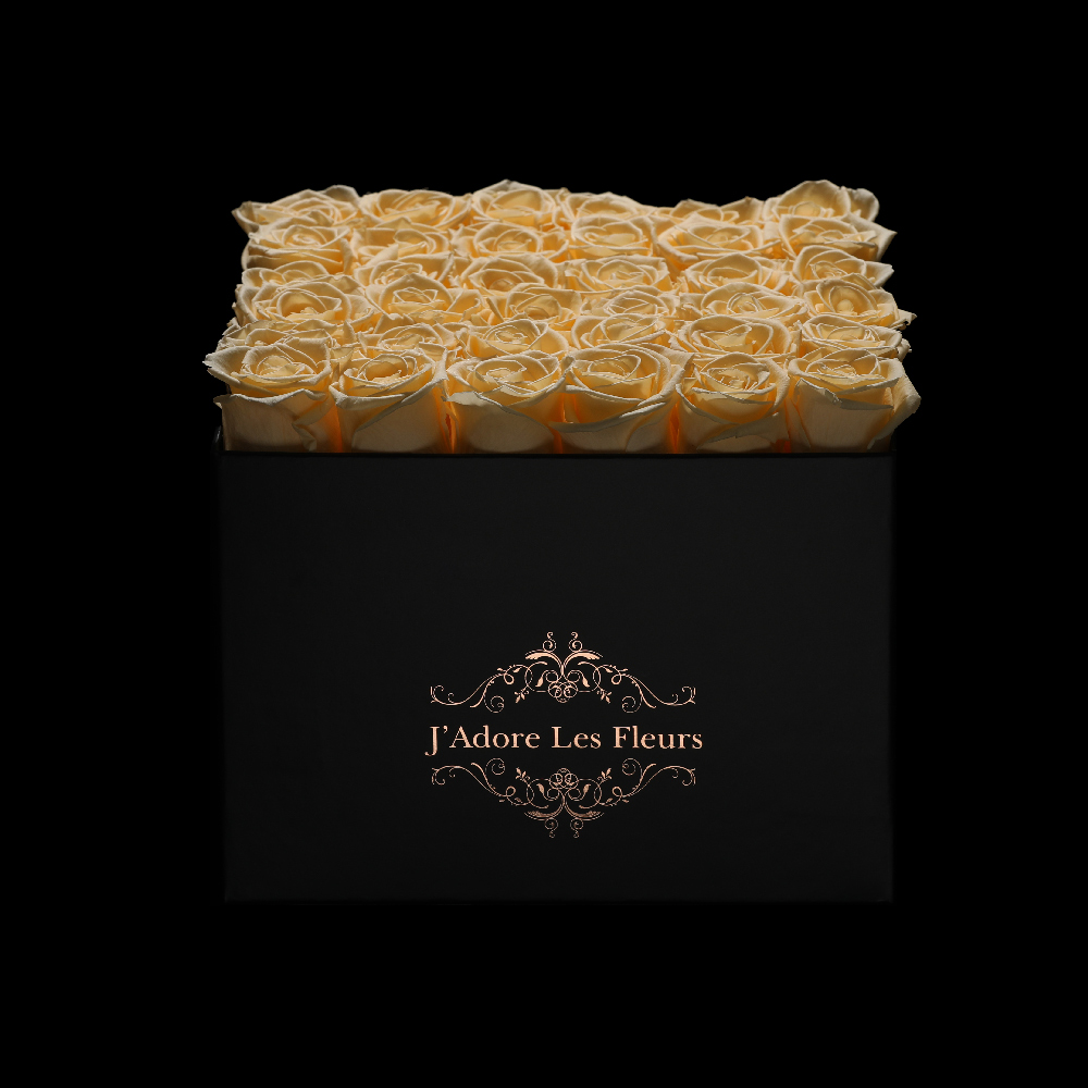 JLF Everlasting Peach Roses In Medium Square Box