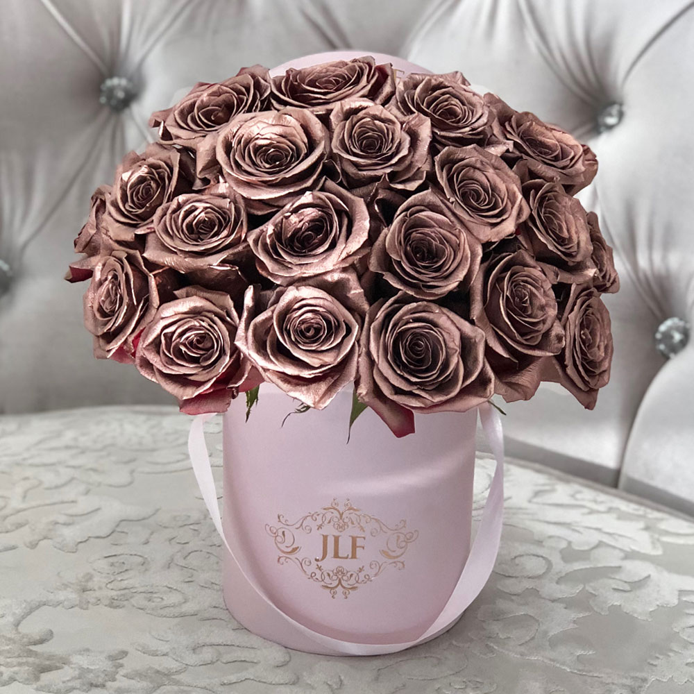JLF Rose Gold Painted Roses In Mini Box
