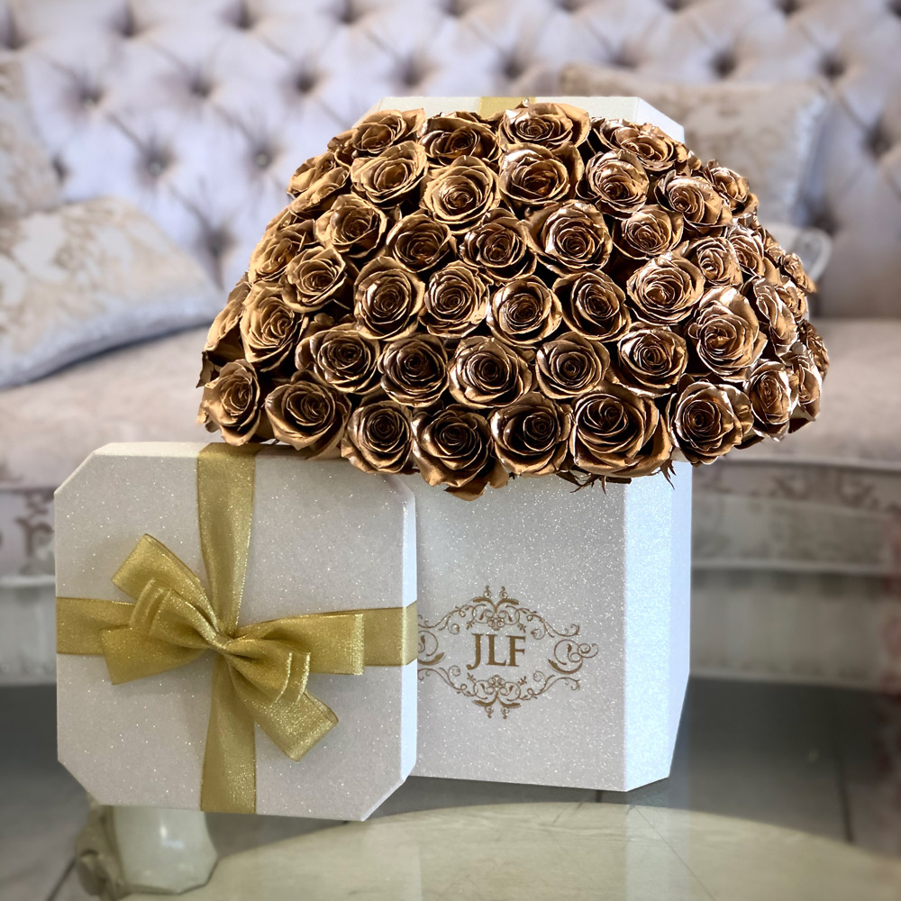 Signature Gold Roses in Holiday Elegance Box