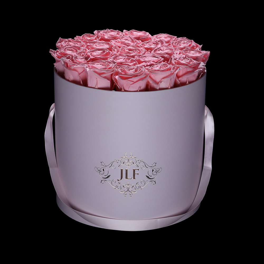 Everlasting Light Pink Roses In Pink Box