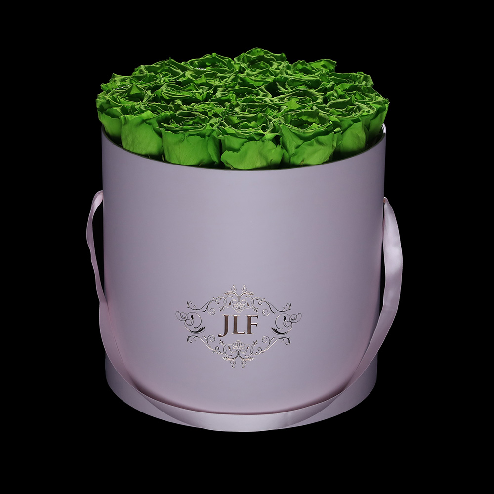 Everlasting Green Roses In Pink Box