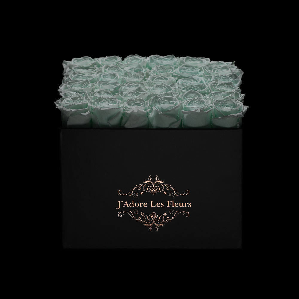 JLF Everlasting Mint Roses In Medium Square Box