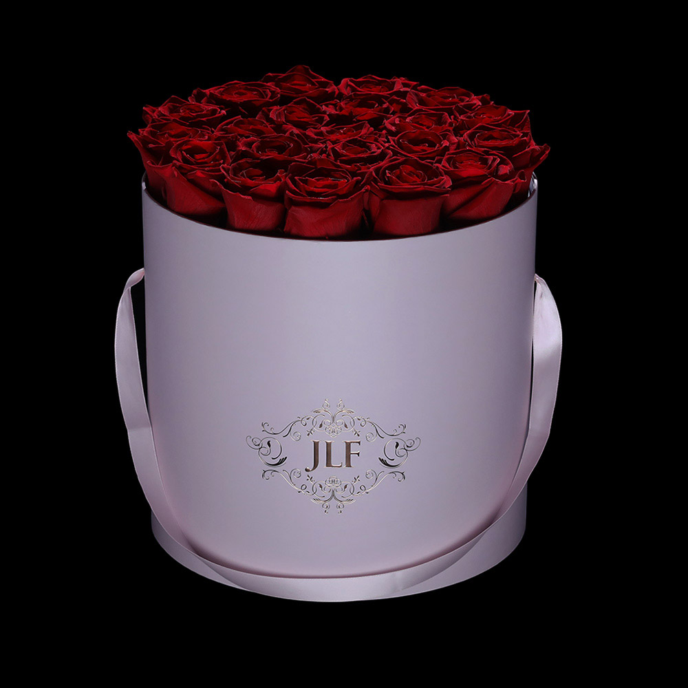 Everlasting Red Roses In Pink Box
