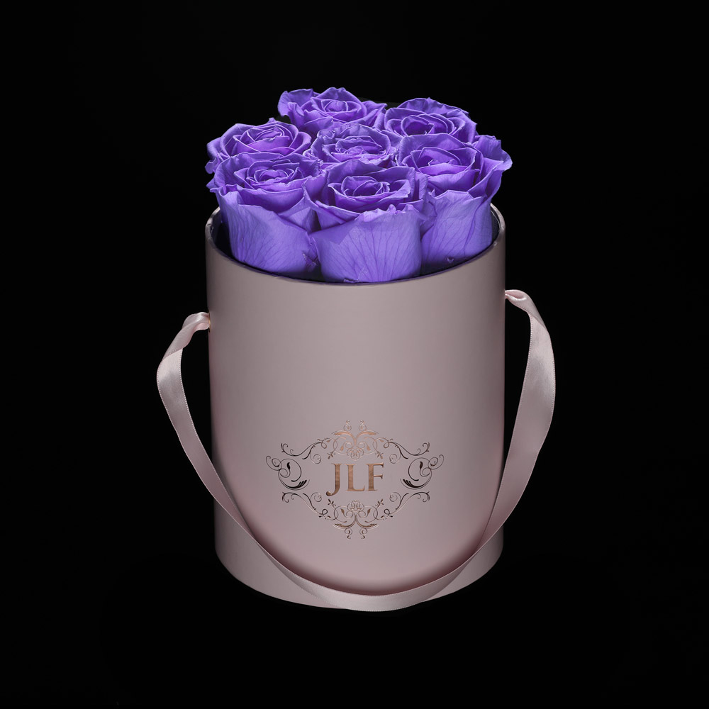 JLF Everlasting Lavender Roses In Mini Box
