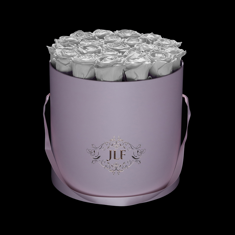 Everlasting White Roses in Pink Box