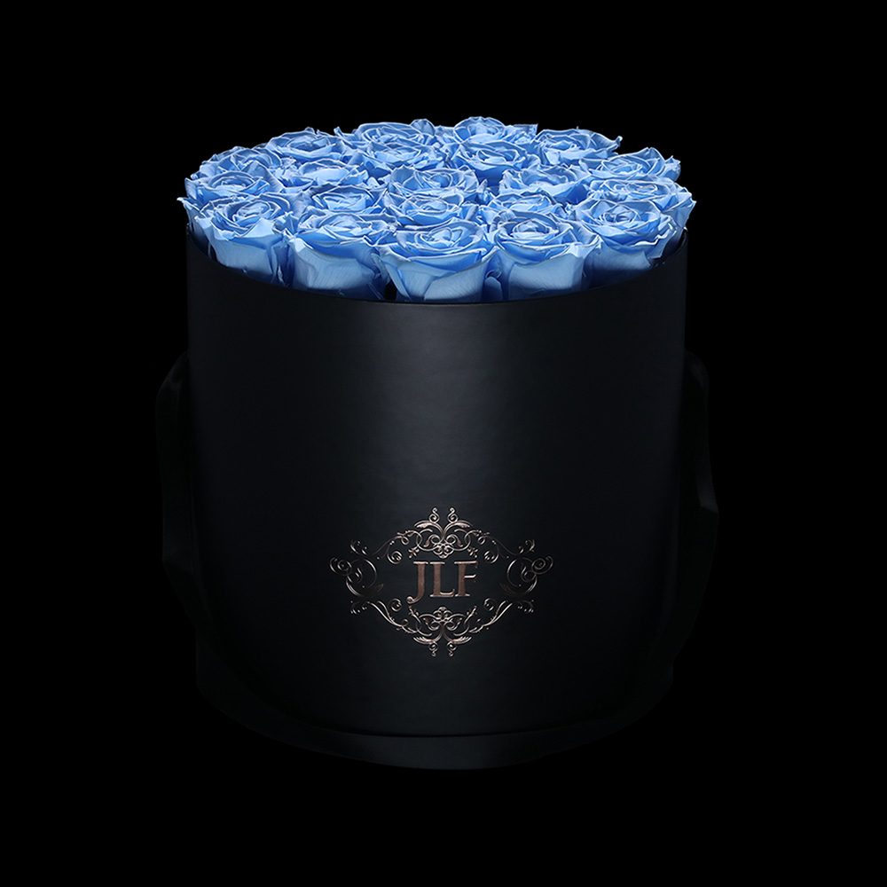 JLF Everlasting Baby Blue Roses in Black Box